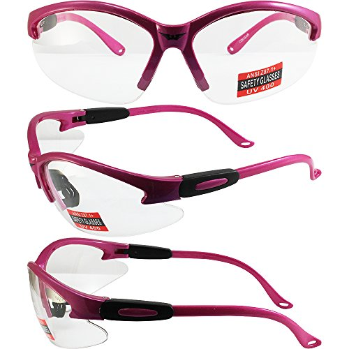 Global Vision Eyewear Cougar Safety Glasses, Clear Lens, Pink Frame