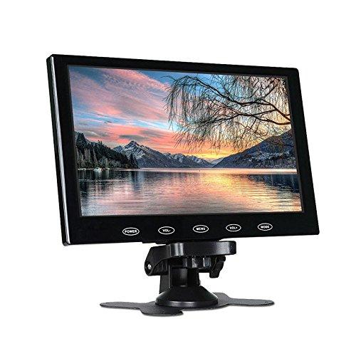 Haihuic 7インチ液晶モニターHD 800×480デジタルTFTカラー画面 HDMI/VGA/AV入力車のPCモニタ 車のリアビュー、CCTV、ホームセキュリティ用 リモコン付き