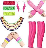 ブレスレット80年代衣装コスチュームアクセサリー脚ウォーマー手袋ネオンピアスブレスレットセット1980年代のテーマパーティー用品