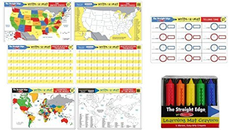 Melissa & Doug Telling Time, United States, Multiplication, Countries Placemats - 4 x Learning Mats for age 6-7 group with bonus Learning Mat Crayons