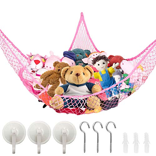 Stuffed Animal Toy Storage Hammock Net Best for Keeping Rooms Clean Wall Sling Corner Mesh Nets for Kids Toys Toy Organizer Storage Net Durable and Easy to Install (Pink)
