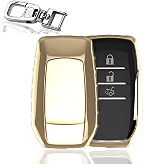 QBUC Smart Key Fob Cover, Soft TPU Case Remote Key Cover Case Protector Shell Keyless Keychain (Gold)