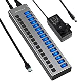 Powered USB Hub - ACASIS 16 Ports 90W USB 3.0 Data Hub - with Individual On/Off Switches and 12V/7.5A Power Adapter USB Hub 3.0 Splitter for Laptop, PC, Computer, Mobile HDD, Flash Drive and More
