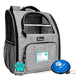 PetAmi Deluxe Pet Carrier Backpack for Small Cats and Dogs, Puppies   Ventilated Design, Two-Sided Entry, Safety Features and Cushion Back Support   for Travel, Hiking, Outdoor Use (Heather Gray)
