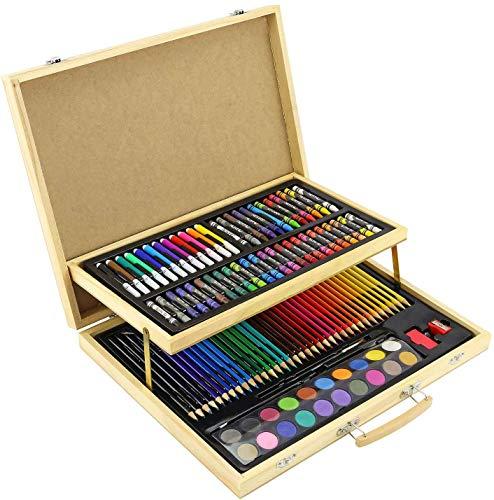 Greenfields 108pc Estuche de Madera para niños y Adultos – Juego de lápices para Colorear Pintura Dibujo Creatividad