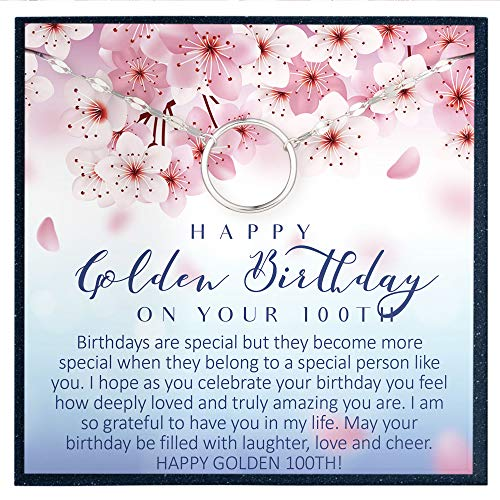 100th Birthday Gift for Women Birthday Gift for 100 Year Old Woman Gifts for Her Bday Gift Ideas for 100 Birthday Jewelry Gift for Women Age 100 - Eternal Circle Bracelet