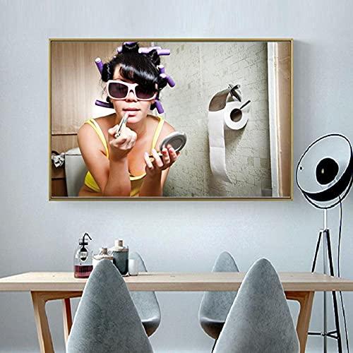 SNGTOW Mujer Moderna Maquillaje Pintalabios Póster Chica Gafas de Sol Divisor de Cabello Baño Arte de la Pared Pintura en Lienzo para la decoración del baño del hogar | 60x80cm Sin Marco