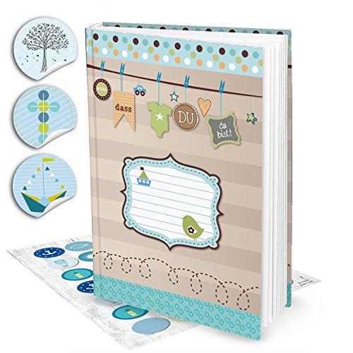 Leeres blau türkis grün XXL Babytagebuch Junge Baby Tagebuch + 35 Aufkleber Erstes Jahr SCHÖN DASS DU DA BIST Buch Babybuch Geschenk Eltern Geburt Kindertagebuch DIN A4