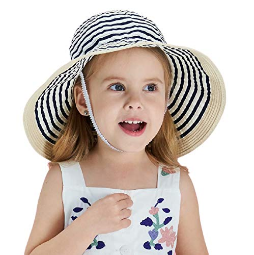 Connectyle Little Kids UPF 50+ Sun Protection Hats for Boys Floppy Roll Up Brim Summer Fishing Sun Cap Navy Blue