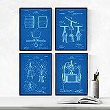 Nacnic Set 4 Stampe artistiche Botte da Vino, cavatappi, macchinario Vendemmia brevetti. Invenzioni del XIX secolo e Vecchi brevetti. Stampato su Carta da 250 Grammi di Alta qualità.