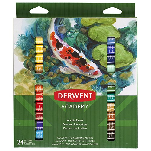 Derwent Academy Acrylic Paints, 12 ml Tubes, 24 Count (98226)