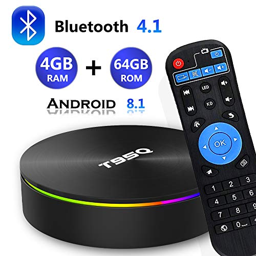 Android 8.1 TV Box, [2019 Updated Edition] Smart Android TV Box Media Player Quad-Core Amlogic S905X2 4GB RAM 64GB ROM Support 5.8G Band WiFi/H.265/ BT4.1/ USB 3.0/ 100M LAN/ 3D/ 6K Ultra HD