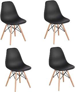 Générique Lot de 4 Chaises de Salle à Manger Pieds en Bois d'hêtre, Chaises pour Restaurant/Bureau Noir