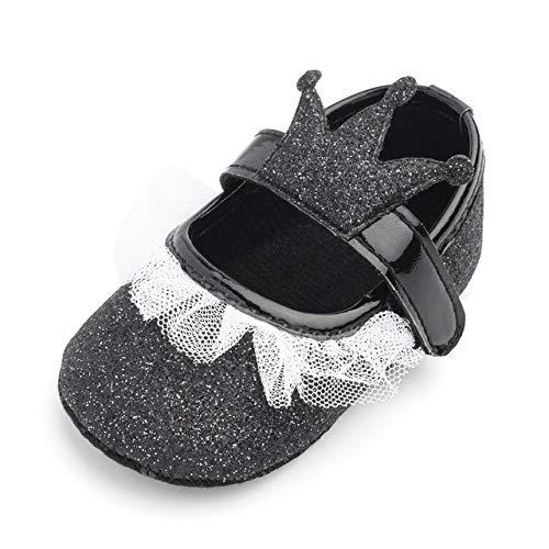 Baby Meisjes Prinses Crown Lace Up Kleine Lederen Schoenen Sneakers Casual Schoenen Zachte Zool Anti-Slip Baby Eerste Wandelschoenen (0-12 Maanden)