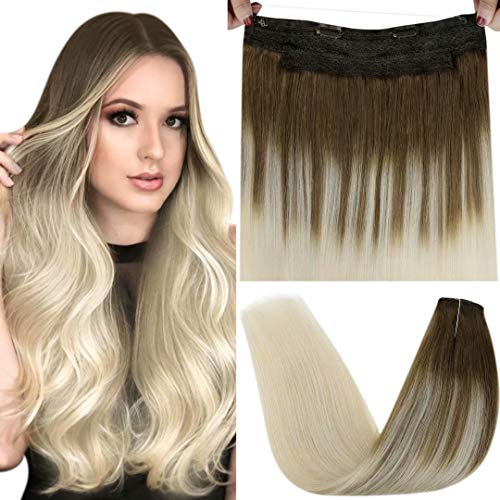 LaaVoo Halo Hair Extensions, Ombre Halo Extensions with Secret Clips Balayage Light Brown Ombre Light Blonde Remy Halo Human Hair Piece Ombre Blonde Halo Real Hair Extensions Double Weft 100g 20'