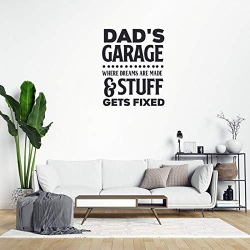 Vinilo de pared de PVC con texto 'Dad's Garage Where Dreams are Made & Stuff Gets Fijo' extraíble para decoración del hogar