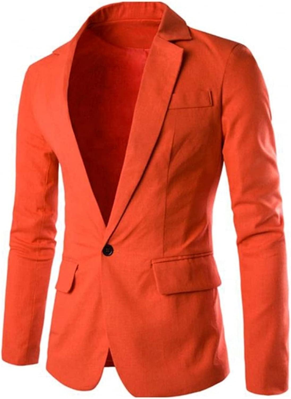 Bright Orange Men's Suit Black Single Row One Button Pocket Notch Lapel Casual Coat for Party Wedding Casual Blazer