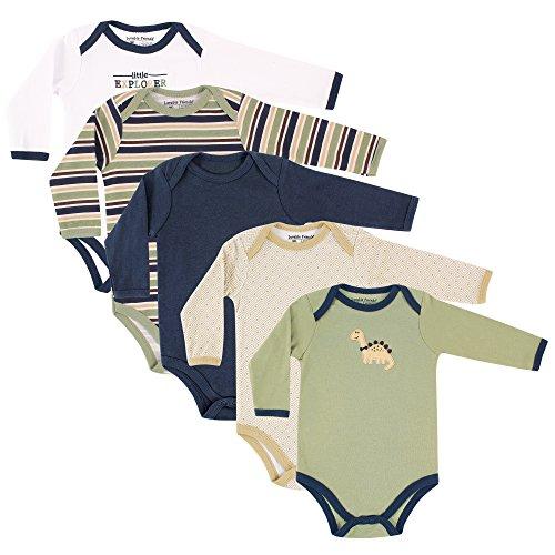 Luvable Friends Unisex Baby Cotton Long-Sleeve Bodysuits, Dinosaur, 18-24 Months
