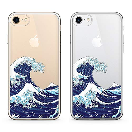 uCOLOR Japanese Wave Clear Case for iPhone 8/7, iPhone 6S Case iPhone 6 Transparent Slim Case Protective Transparent Soft TPU Bumper+Hard PC Back Clear Cover for iPhone 7/8/6S/6 (4.7')