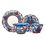 Karid Juego De Vajilla De Cerámica, 6 Piezas De Platos Y Cuencos Azules De Estilo Exótico, Juegos De Cena De Porcelana con Motivos Florales Pintados A Mano para Carnaval