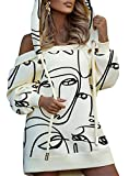 Women's Sexy Off Shoulder Printed Long Slevee Removable Hooded Bodycon Cocktail Party Dress Beige