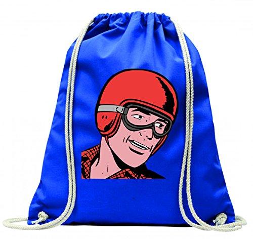 Druckerlebnis24 Turnbeutel Comic- Treiber- Brille- Helm- Mann- RENNEN- Retro mit Kordel - 100% Baumwolle- Gymbag- Rucksack- Sportbeutel