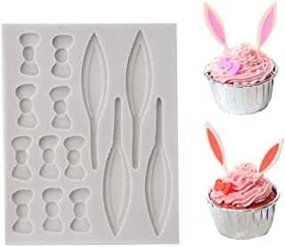 ❤2 Pack Easter Bunny Rabbit Ears and Bowknots Cupcake Topper Fondant Chocolate Mold, ❤Kitchen Accessories Tools Party Cake Decoration