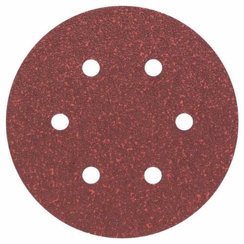 Bosch Professional Bosch 2608605716 Disque abrasif pour ponceuse excentrique Ø 150 mm 6 Trous Grain 40 5 pièces, Gris, 150mm