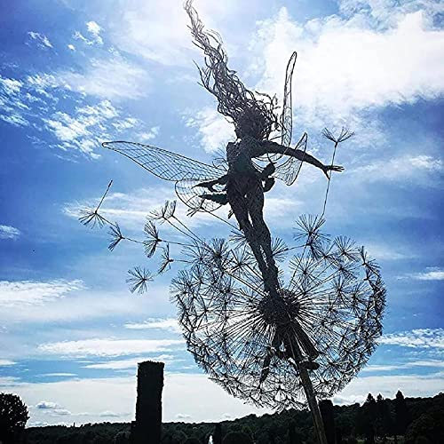 Yemyor Feen und Löwenzahn Tanzen zusammen Skulptur Kreative Garten Metall Kunst Pusteblume Feen Dekor hanzeze für Garten Terrasse Hinterhof Dekor (A)