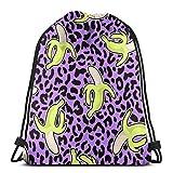 U Shape Cheetah Skin Banana Drawstring Bag Mochila Mochila Gym Dance Mochila para Senderismo Bolsas de Viaje en la Playa