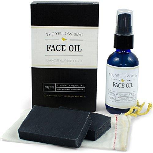 All Natural Charcoal Face Soap & Moisturizing Face Oil Set Acne Skincare Kit Gentle Facial Soap & Anti-âge Face Oil Moisturizer