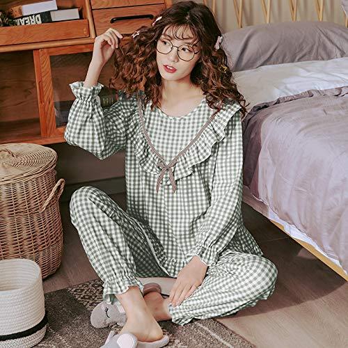 DFDLNL Ropa de Dormir a Cuadros para Mujer, Conjunto de Pijama Verde Fresco, Pijama de algodn para Mujer, Manga Larga con Pantalones, Ropa de casa, Ropa de Dormir XXXL