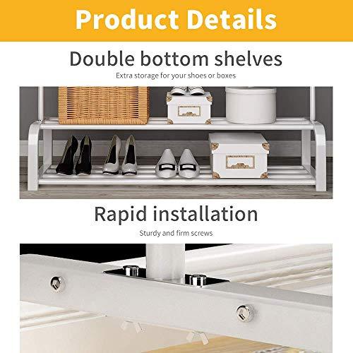 UDEAR Kleiderständer Freistehender Kleiderbügel Doppelruten Multifunktionale Schlafzimmer Kleiderständer, Doppelschicht, 8 Haken, Weiß
