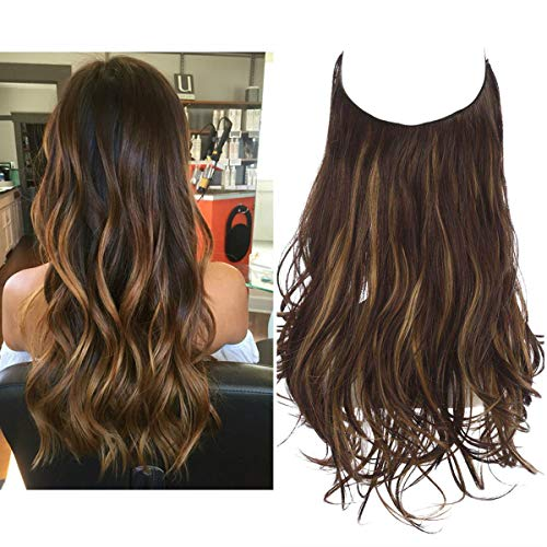 Halo Hair Extension for Women Wavy Curly Long 16 Inch 3.9 Oz Invisible Wire Adjustable Headband Synthetic Hairpiece Dark Brown With Golden Highlight Heat Friendly Fiber No Clip SARLA (M03&4BH27)