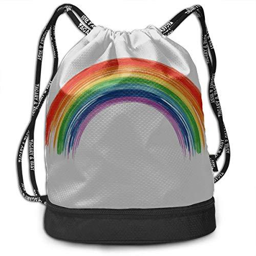 OKIJH Gym Bag Women Colorful Bright Rainbow Cartoon Gym Drawstring Bags Backpack Sports String Bundle Backpack for Sport with Shoe Pocket Gym Bag Men