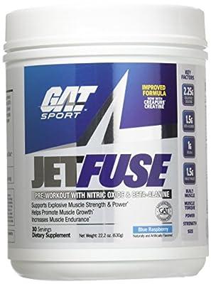 GAT - JetFuse Pre-Workout Powder with Nitric Oxide & Beta-Alanine Blue Raspberry - 22.2 oz. by GAT