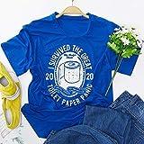 私はGREATレター半袖サバイバーTシャツを印刷生き残っCovid-19女子シャツ (Color : Blue, Size : M)