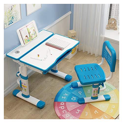 ARCH Kinder Schreibtisch Mit Stuhl, Lagerung Haken Und Fach-Speicher, Kindertisch for Kinder, Jungen Und Mädchen, Ideal Kid Schreibtisch for Das Schreiben, Lesen Und Zeichnen (Color : Blue)