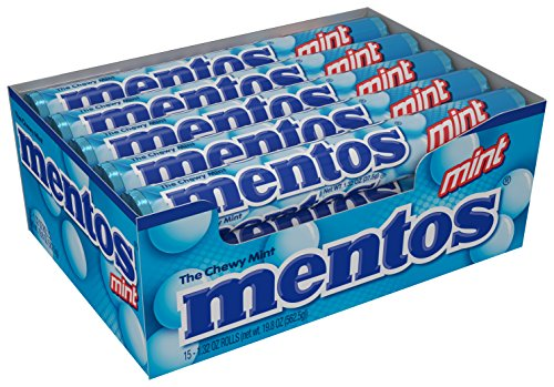 Mentos Chewy Mint Candy Roll, Mint, Non Melting, Party, 14 Pieces (Bulk Pack of 15) - Packaging May Vary by Perfetti