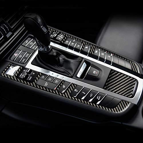 HDCF 3 Unids/set Interior del coche del moldeo de Fibra de Carbono Panel de Engranajes Central Panel de Control calcomanías Pegatinas accesorios Para Macan