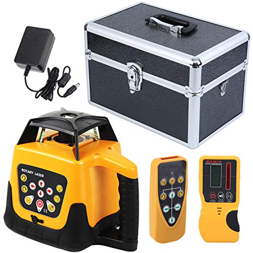 Iglobalbuy 500M Red Beam 360°Automatic Electronic Self-leveling Rotary Rotating Laser Level Tool Kit with Remote Control Case