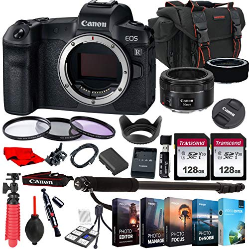 Canon EOS R Mirrorless Camera with EF 50mm f/1.8 STM Prime Lens + 256GB Memory + Photo Editing Software +...