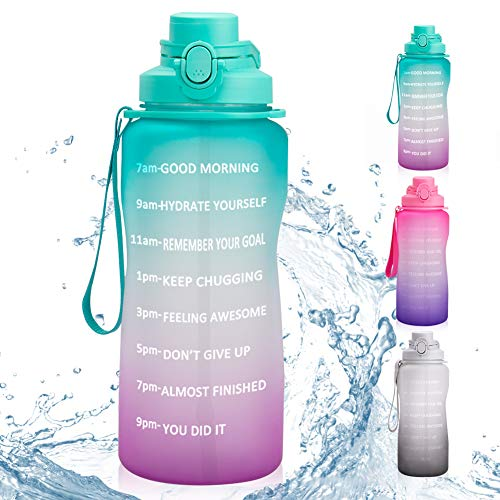 Motivational Sport Water Bottle with Time Marker & Straw 64oz Half Gallon BPA Free Water Bottle Leakproof Plastic Frosted Tritan Portable Fitness Water Jug for Gym Office Running Workout Outdoor Sport