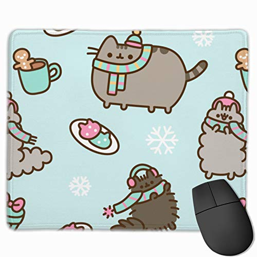 Pusheen Mouse Pad with Stitched Edge, Premium-Textured Mouse Mat, Non-Slip Rubber Mouse Pad for Laptop, Computer & Pc, Base for Office & Home 9.84'11.8'
