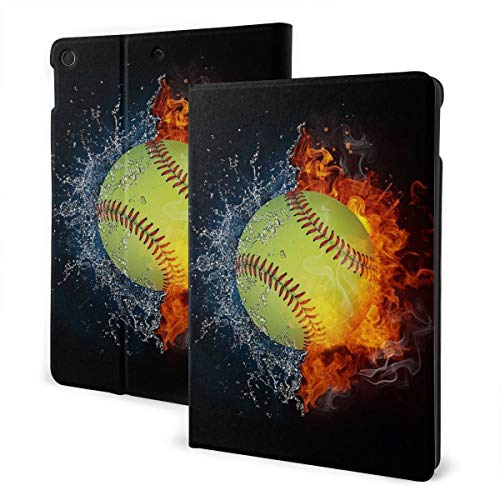 Baseball on Fire Case for New iPad 7th Generation, iPad 10.2 2019 Case, Slim Stand Hard Back Shell Protective Smart Cover Case with Auto Sleep/Wake Feature