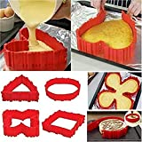 3D Puzzle Baking Shaper,4 PCS Silicone Cake Mold, Cake Pan Snake DIY Baking Mould Magic Bake Tools - Design Your Cakes Any Shape