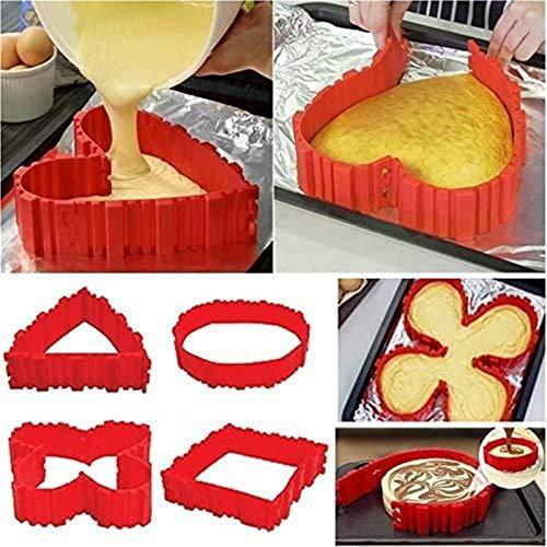 3D Puzzle Backformer , 4 PCS Silikon Kuchenform, Kuchenform Schlange DIY Backform Magic Backwerkzeuge - Gestalten Sie Ihre Kuchen in jeder Form