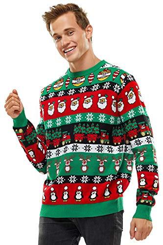 U LOOK UGLY TODAY Pull de Noël Laid pour Les Hommes, Pull Drôle en Tricot Chunky avec Un Flocon de Neige Santa Reindeer, Pull Festif en Jacquard à Manches Longues Festif pour Une Fête de Noël