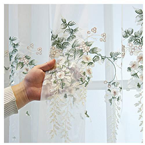PHBSF Spitzenstoff Stickerei Blumenfenster Behandlung Netz Vorhänge Material Semi Transparent Sheer Window Voile Vorhänge Stoff Für Schlafzimmer (2.5 M Breite)(Size:6m)