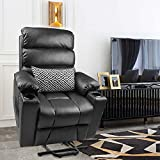Maxxprime Electric Power Lift Recliner Chair Sofa with Massage and Heat for Elderly, PU Faux Leather, Dual OKIN Motor, Wheel, Infinite Position Lay Flat, 2 Side Pockets, Cup Holders, USB Port(Black)
